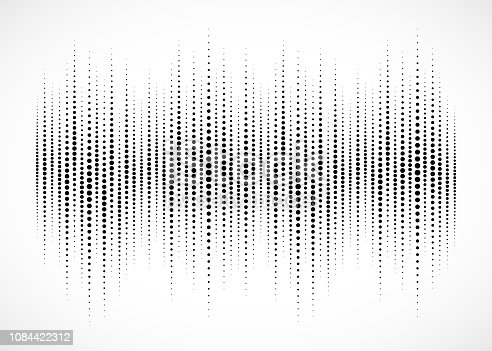 Audio equalizer halftone isolated on white background. Sound wave using halftone texture. Abstract audio spectrum waveform. Music beat. Vector illustration.