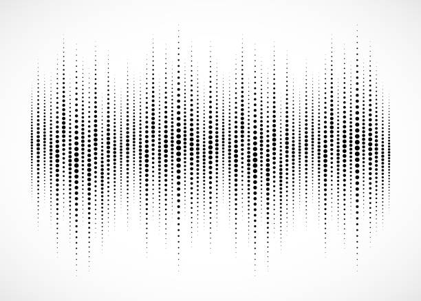 audio equalizer halftone isolated on white background. sound wave using halftone texture. abstract audio spectrum waveform. music beat. vector illustration. - instrument strunowy stock illustrations
