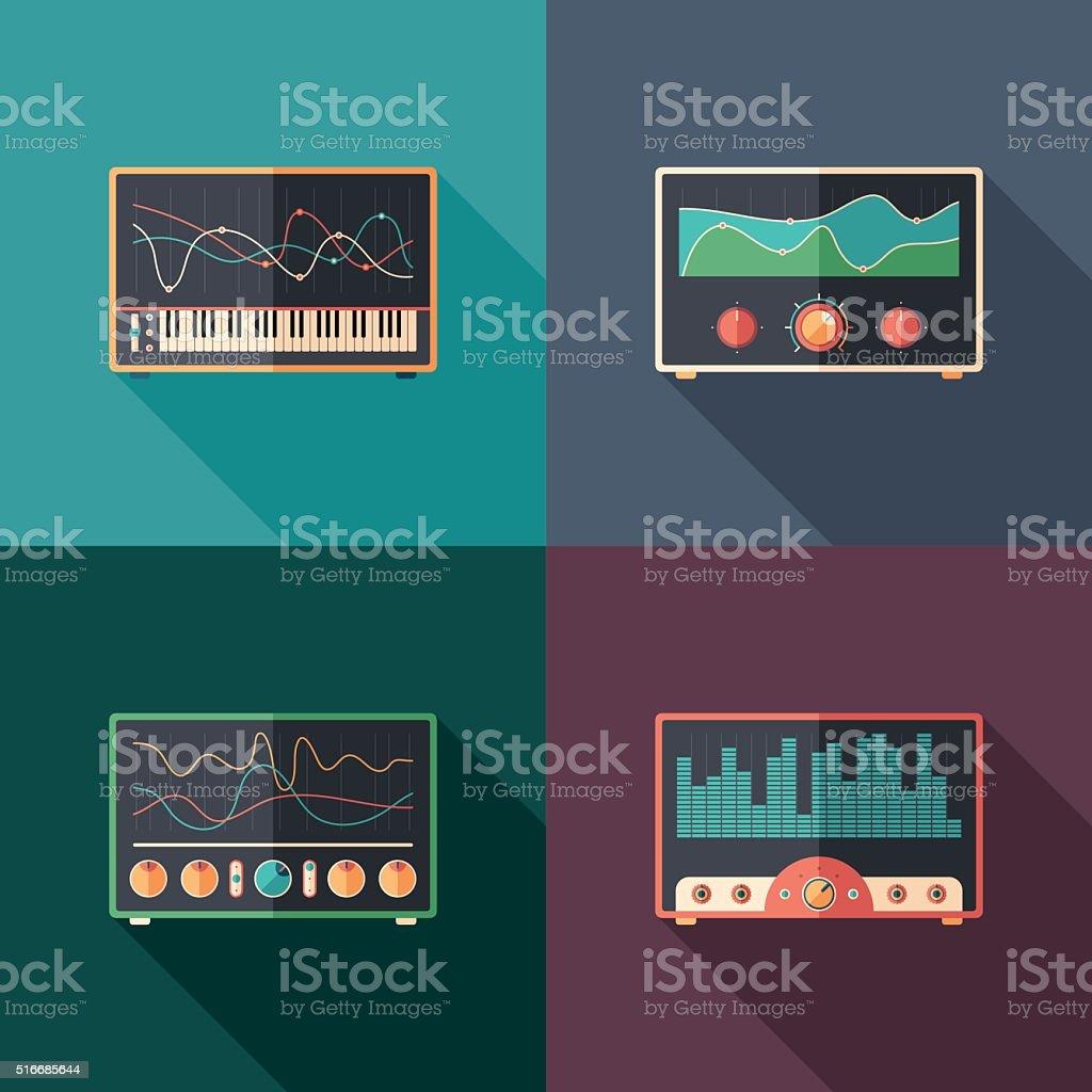 Audio equalizers flat square icon set. vector art illustration