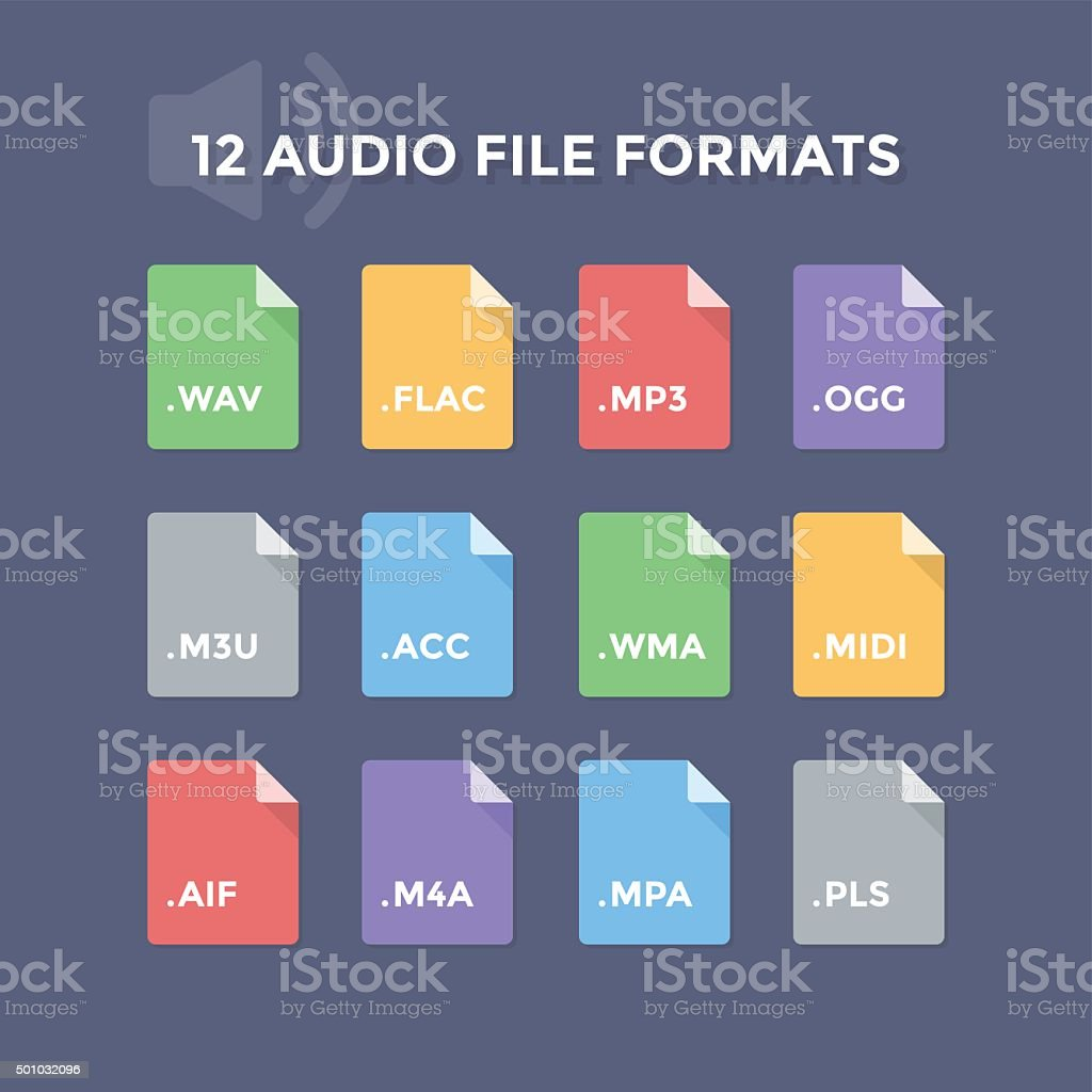 Audio File Formats vector art illustration