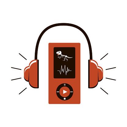 Icono de audioguía. Auriculares y un dispositivo con botones de control. En la pantalla, un esqueleto de dinosaurio. Acompañamiento de audio en el Museo. Ilustración vectorial en combinación de colormarmar. Aislado sobre blanco.