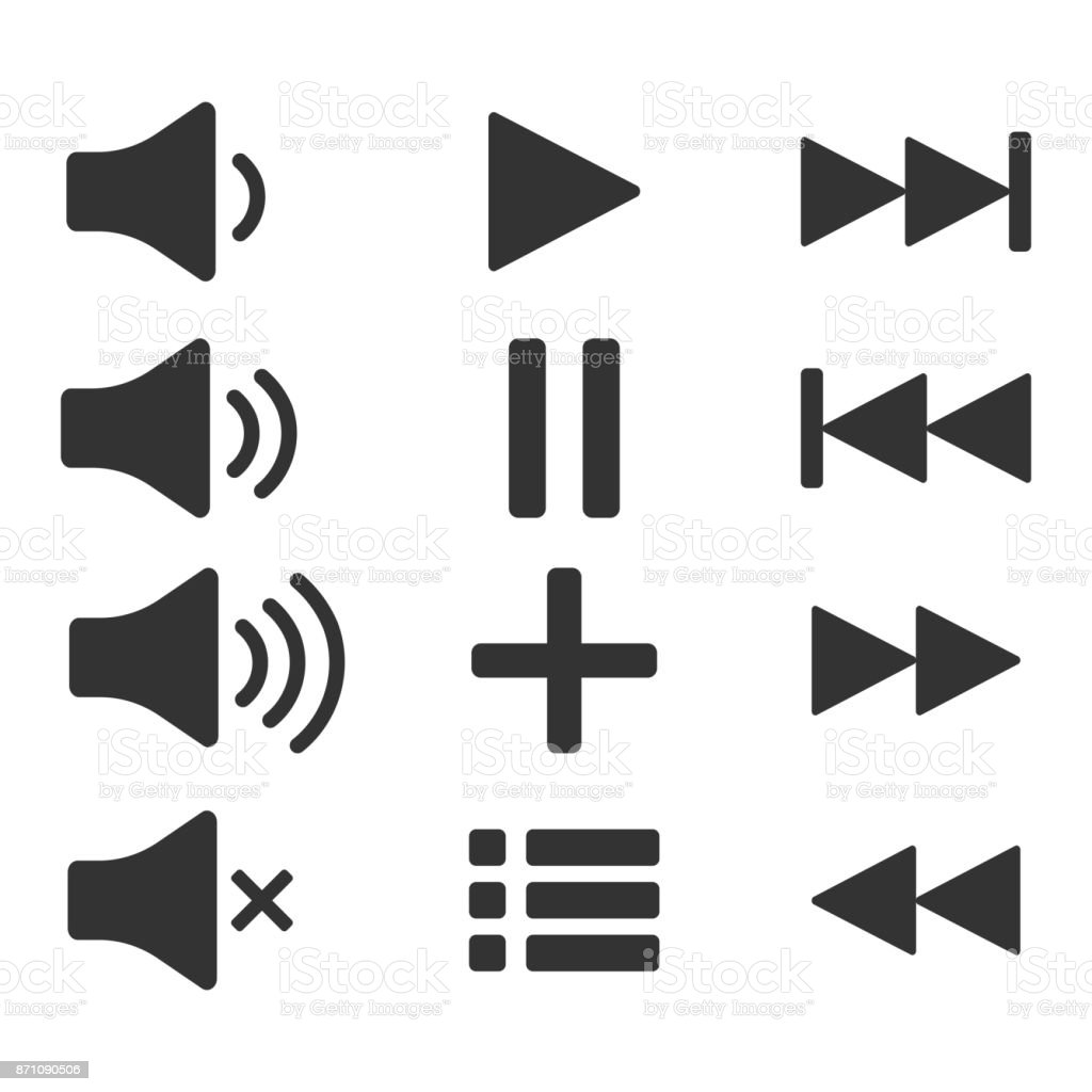 Audio icons sound buttons play button pause sign symbol for web or audio icons sound buttons play button pause sign symbol for web or biocorpaavc