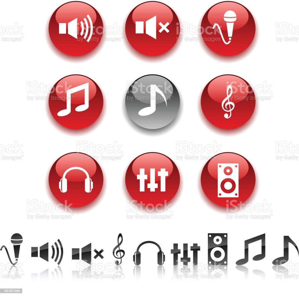 Audio icons. royalty-free stock vector art