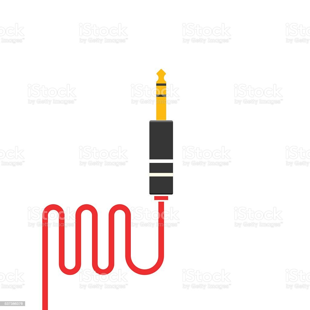 Audio jack cable vector icon isolated vector art illustration