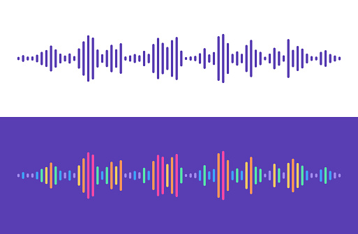 Audio levels lines rainbow talking music sound editing abstract design elements.
