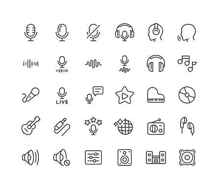 Audio Line Icons Editable Stroke