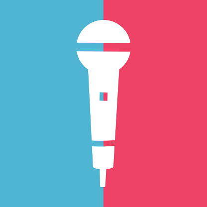 Audio microphone icon on blue and pink background. Mic silhouette. Music, voice, record icon. Recording studio symbol. Vector illustration.