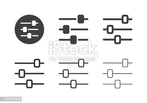 Audio Mixer Icons Multi Series Vector EPS File.
