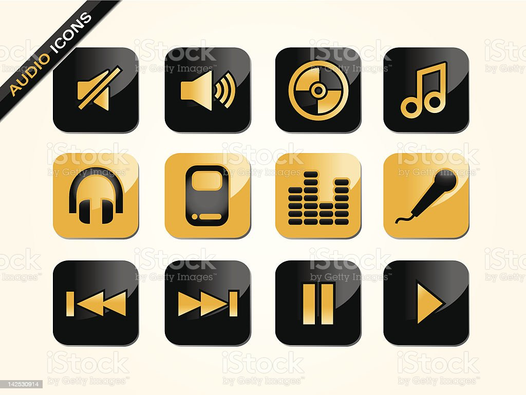 Audio & Music Icons royalty-free stock vector art