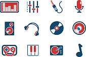 Audio & music simple vector icons. See also: