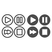 Audio or video player control buttons line and solid icon. Navigation interface symbol, outline style pictogram on white background. Multimedia sign for mobile concept and web design. Vector graphics