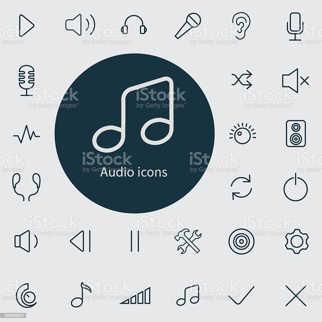 audio outline, thin, flat, digital icon set vector art illustration