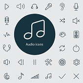 audio outline, thin, flat, digital icon set