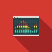 Audio Player Flat Design Communications Icon with Side Shadow