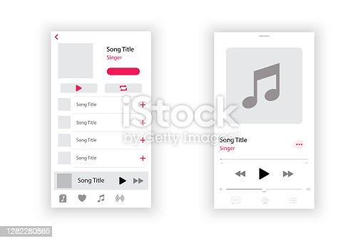 istock Audio player interface. Music player app interface. Social media screen template mobile audio player. Ui interface. Profile, Album, Song, Playlist mockup. App interface template. Play button. 1282280865