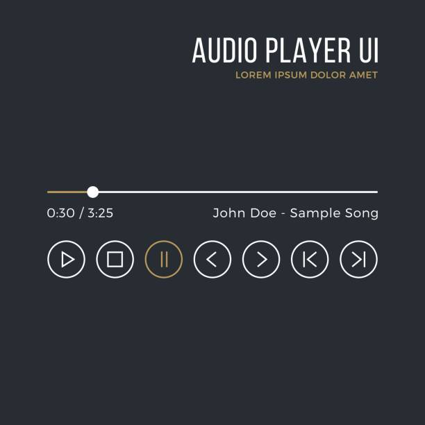 audio player interface. timeline, buttons, icons, artist name, song title. media player ui, white and gold gui. thin line design. minimalistic dark theme. vector illustration - music icons stock illustrations, clip art, cartoons, & icons