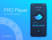 UI audio player templates templates in vector with design elements
