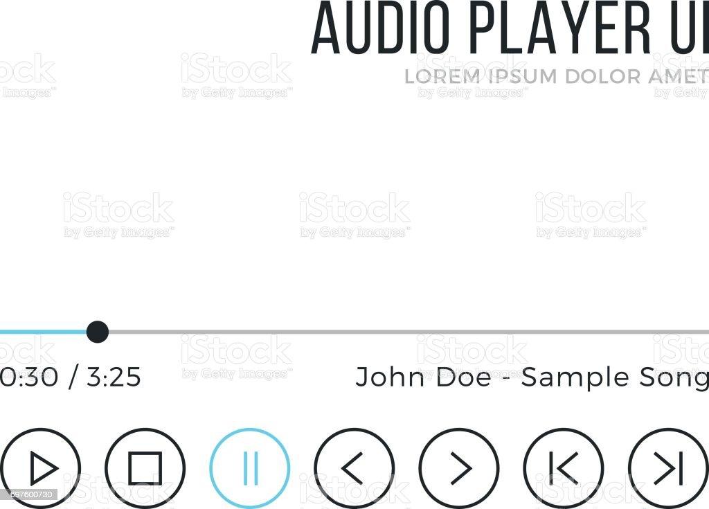 Lecteur audio interface utilisateur. Media player interface, noir et bleu éléments d'interface graphique. Conception mince ligne. Thème propre minimaliste. Illustration vectorielle - Illustration vectorielle