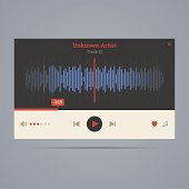 Audio player with equalizer in flat style with icons. Vector illustration.