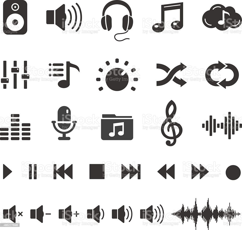 Audio Sound Music Icons and Player Buttons - Vector Set