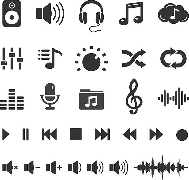 audio sound music icons and player buttons - vector set - music icons stock illustrations, clip art, cartoons, & icons