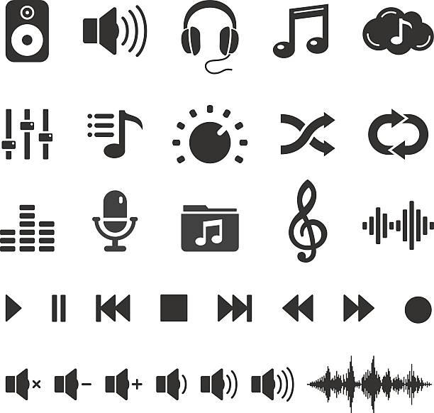 illustrations, cliparts, dessins animés et icônes de son audio musique et icônes boutons set-vecteur de joueur - icônes musique