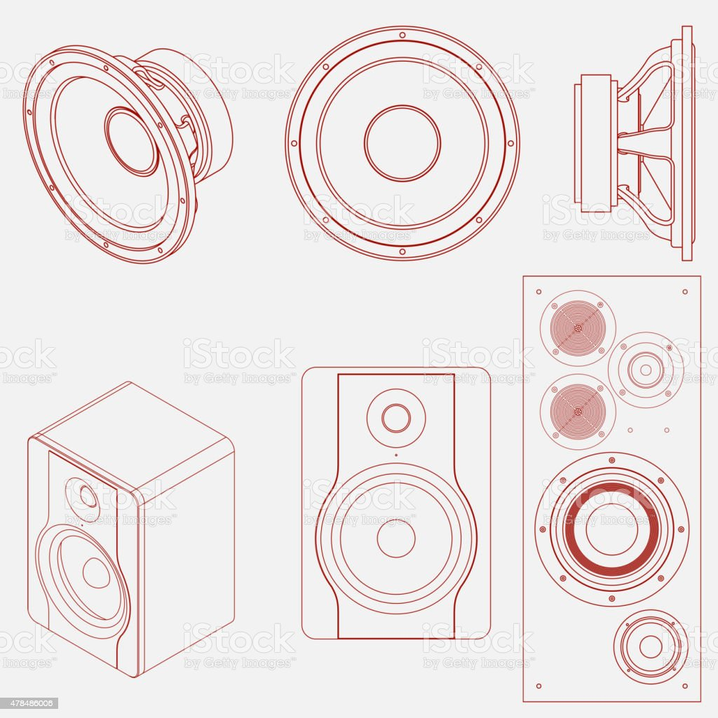 Audio speaker icon vector art illustration