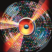 Audio speaker on bright colorful background