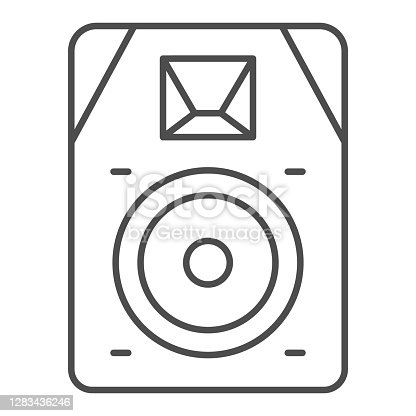 istock Audio speaker thin line icon, Sound design concept, sound loud speaker sign on white background, subwoofer music system icon in outline style for mobile concept and web design. Vector graphics. 1283436246