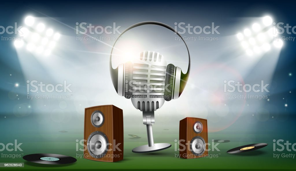 Audio speakers and a microphone with headphones - Royalty-free Acoustic Music stock vector