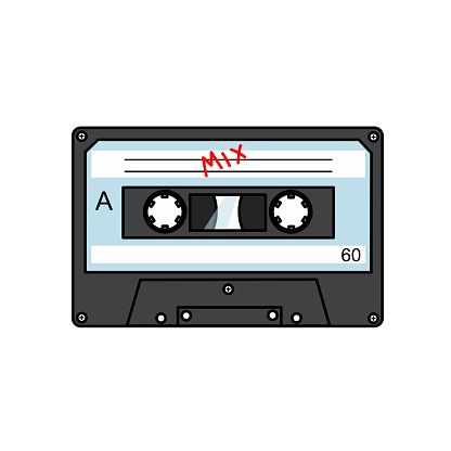 Audio tape is a flat vector drawing on a white isolated background.