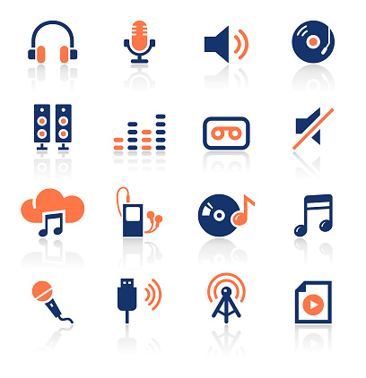 Audio Two Color Icons Set