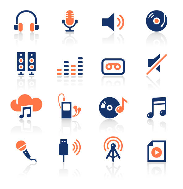 Audio Two Color Icons Set An illustration of audio two color icons set for your web page, presentation, apps and design products. Vector format can be fully scalable & editable. music icons stock illustrations