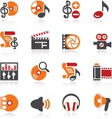 Audio video icons. Color series.
