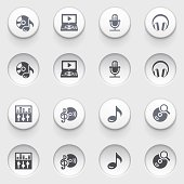 Audio video icons on white buttons. Set 1.