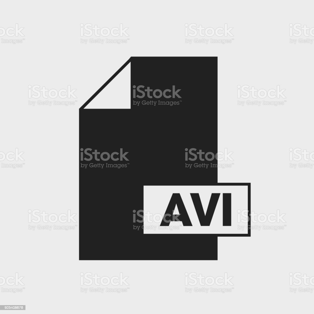 Audio Video Interleaved (AVI) file format Icon on gray background. vector art illustration