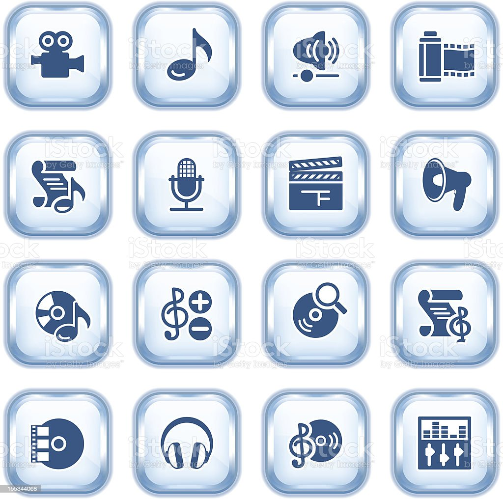 Audio video web icons on glossy buttons. royalty-free stock vector art