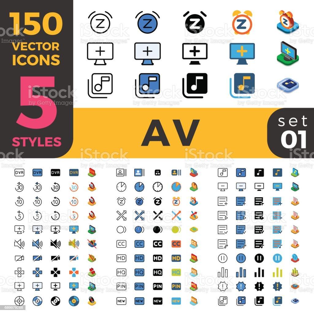 Audio Video Web Mobile Ui Vector Icon Set In Linear Outline Flat