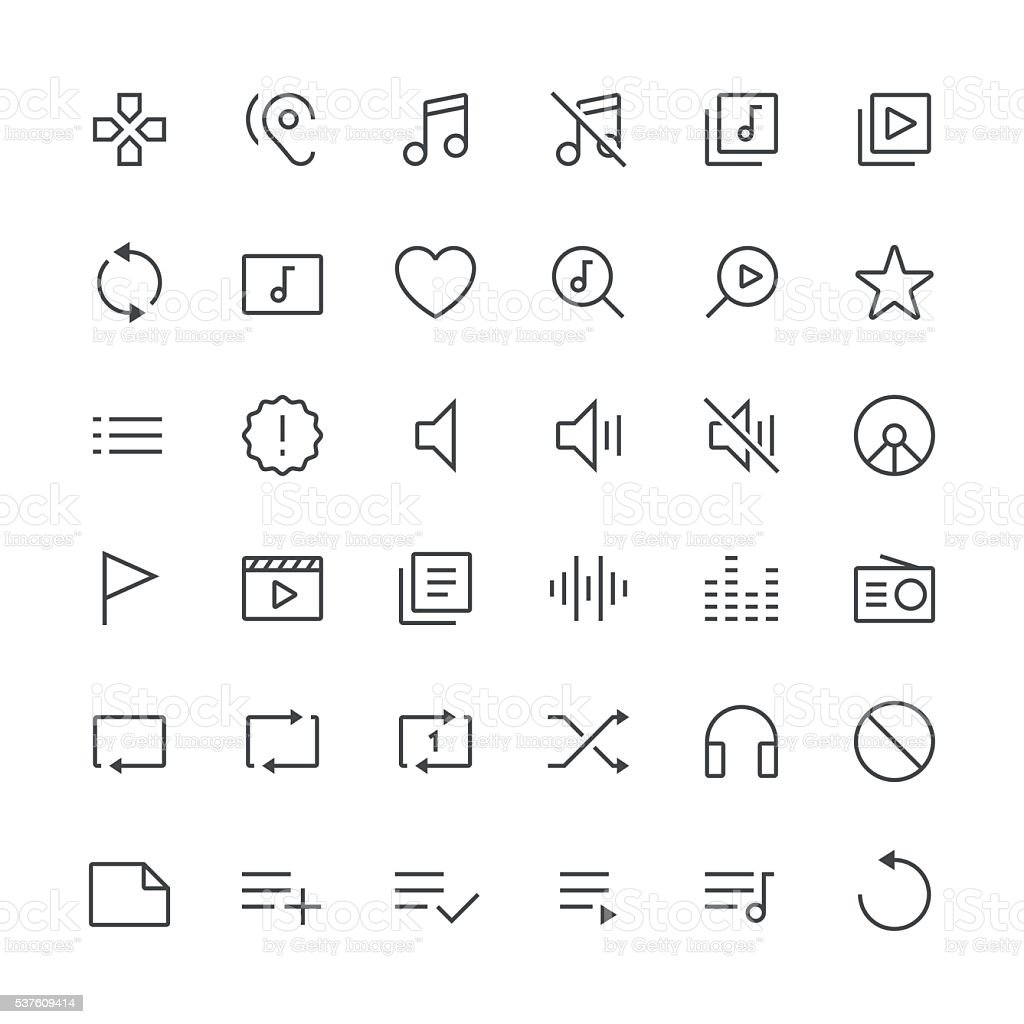 Audio Visual icons set 2 | Thin Line serie vector art illustration