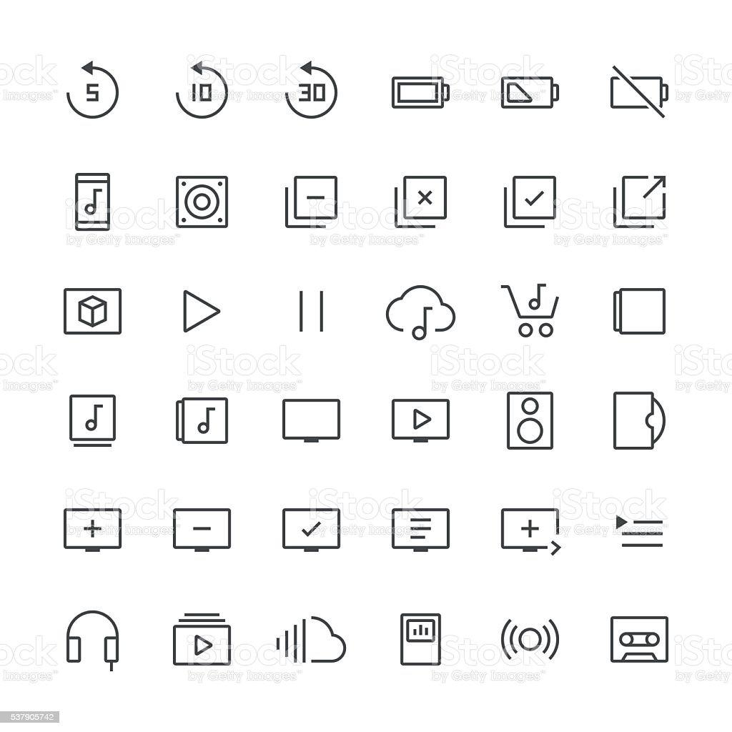 Audio Visual icons set 3   Thin Line series vector art illustration