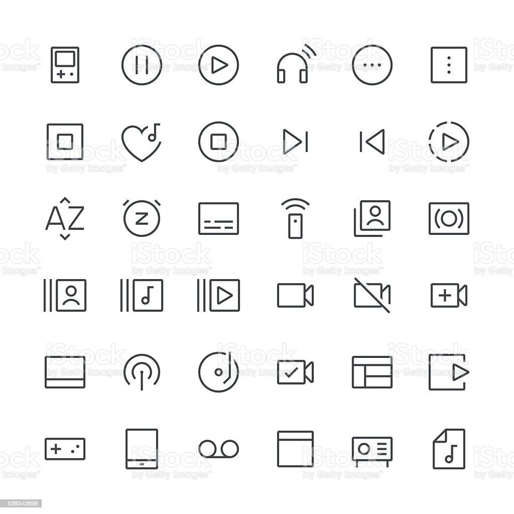 Audio Visual icônes ensemble 4/fine ligne series - Illustration vectorielle