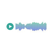 istock Audio voice recording icon, sound blue track or music playback 1341388154