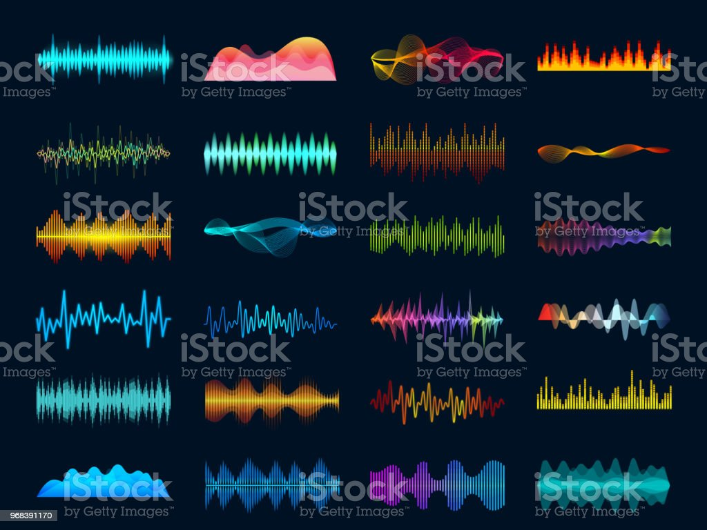 Audio waveform signals, wave song equalizer, stereo recorder sound visualization. Soundtrack signal and melody beat vector concept