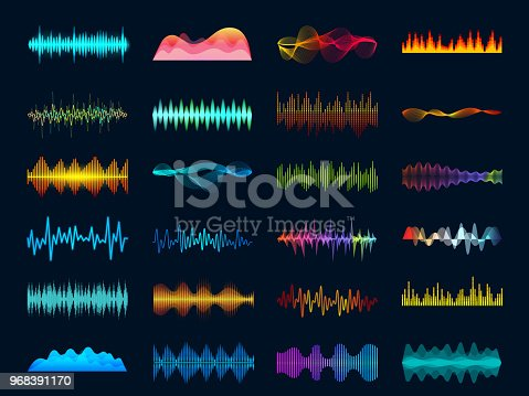 Audio waveform signals, wave song equalizer, stereo recorder sound visualization. Soundtrack signal spectrum and studio melody beat vector frequency meter concept on dark background