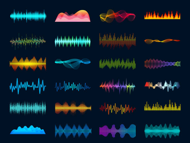Audio waveform signals, wave song equalizer, stereo recorder sound visualization. Soundtrack signal and melody beat vector concept Audio waveform signals, wave song equalizer, stereo recorder sound visualization. Soundtrack signal spectrum and studio melody beat vector frequency meter concept on dark background shaking stock illustrations