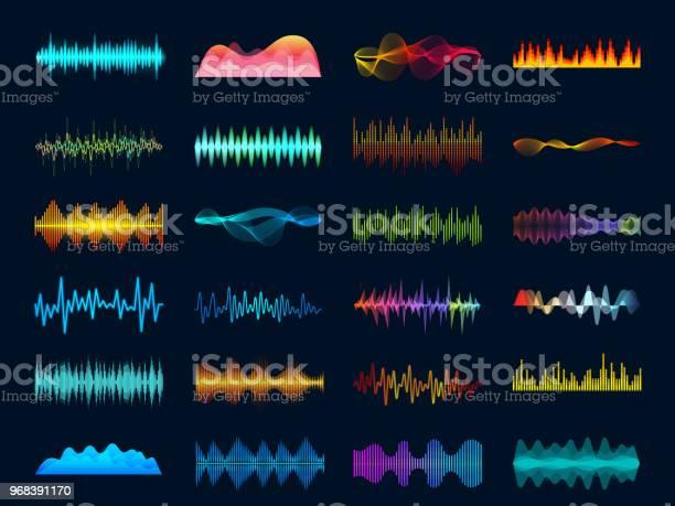 オーディオ波形信号を波曲イコライザーステレオ レコーダーで音を視覚化サウンド トラック信号とメロディー ビート ベクトルの概念 - アナログレコードのベクターアート素材や画像を多数ご用意