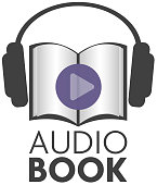 audiobook icon with earphones and paper book