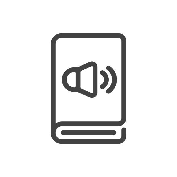Audiobook outline icon. vector art illustration