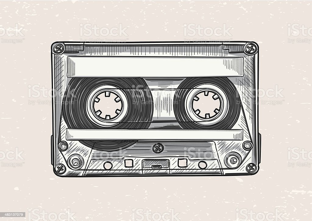 Audiocassette vector art illustration