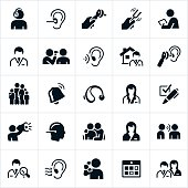An icon set of audiology themes. The icons include audiologists, audiology, audiology testing, medical exam, otoscope, hearing aid and other related themes.